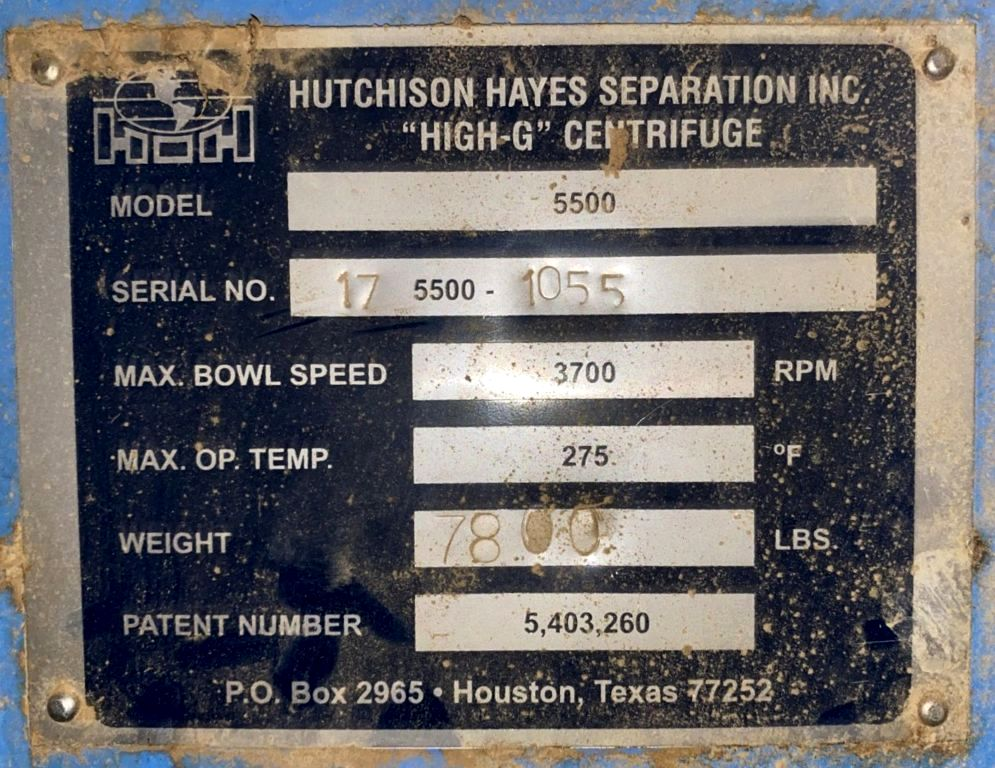 Hutchison-Hayes 5500 decanter centrifuge, 316SS.