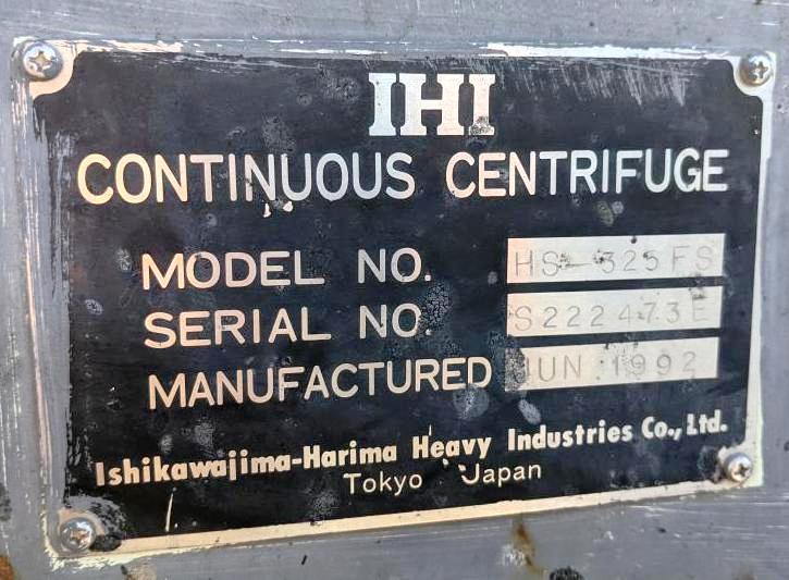 IHI HS-325-FS gastight decanter centrifuge, SS.