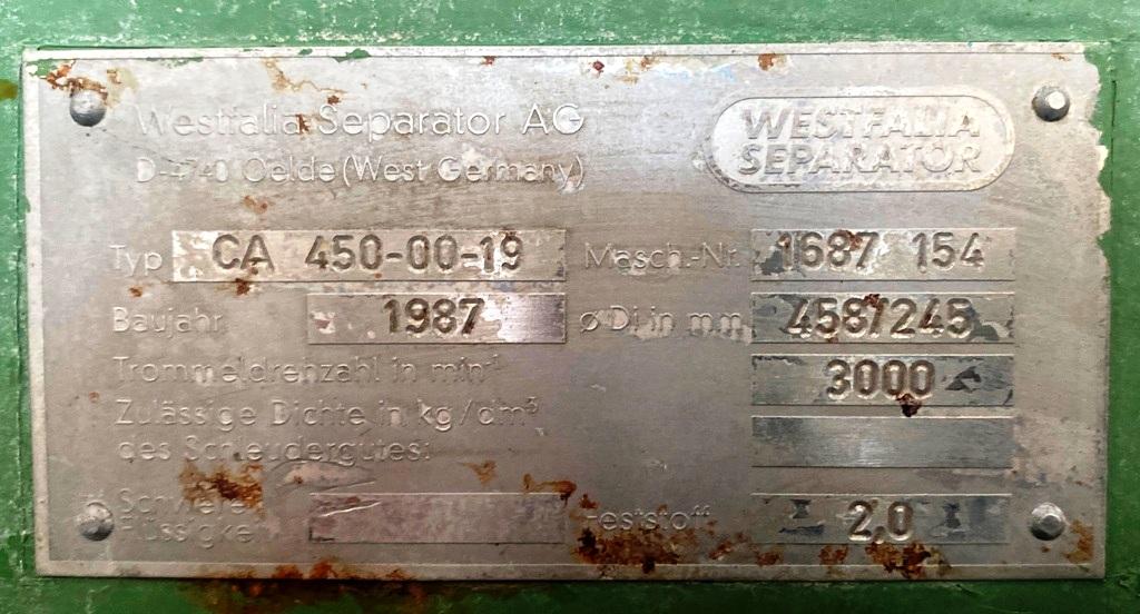 Westfalia CA 450-00-19 decanter centrifuge, 316SS.