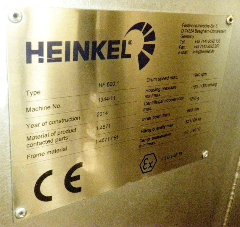 Heinkel HF 600.1 Inverting Filter centrifuge, 316L SS.