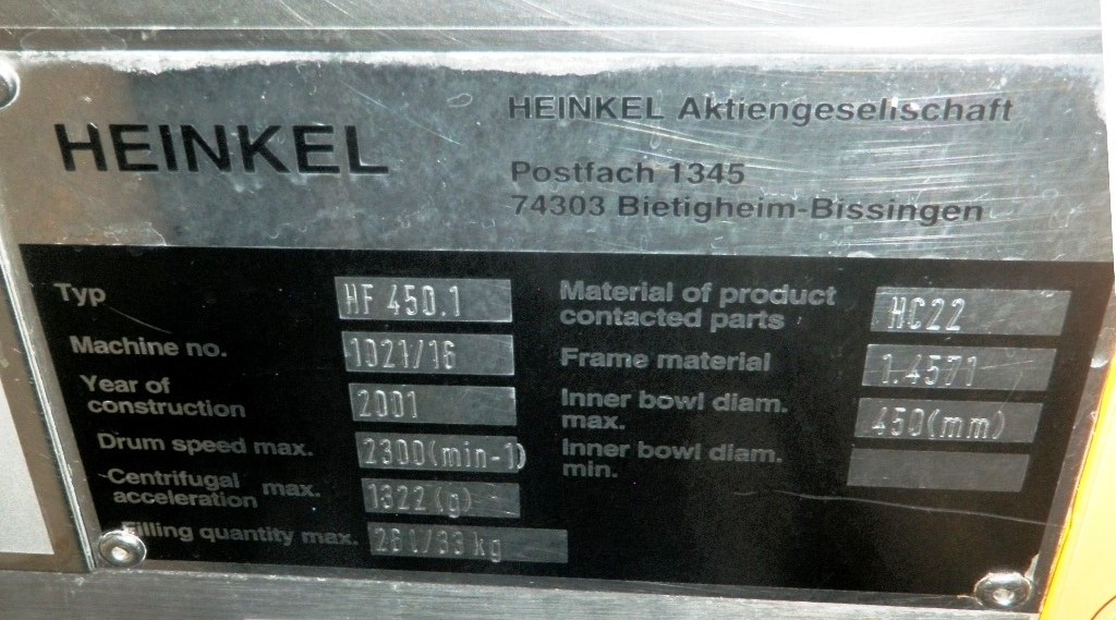 Heinkel HF 450.1 Inverting Filter centrifuge, Hastelloy C22.