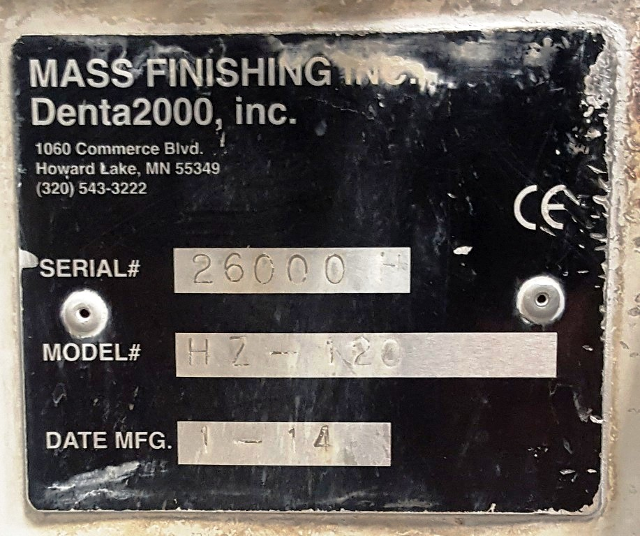 Mass Finishing HZ-120 centrifugal barrel finishing system.
