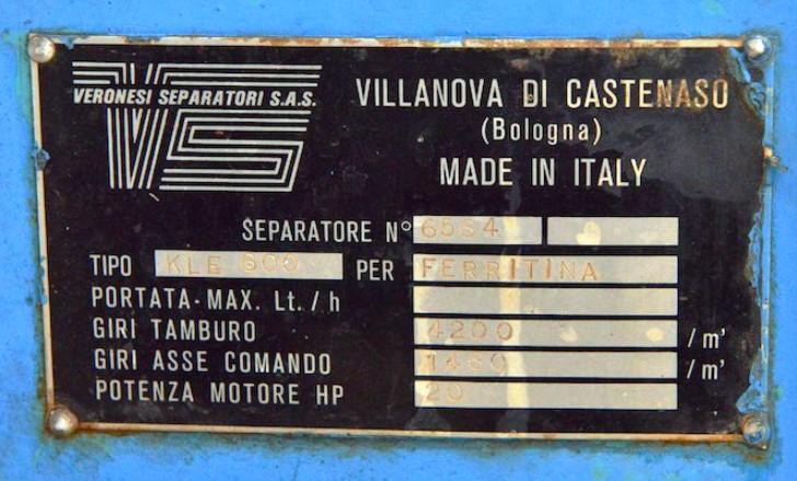 Veronesi KLE 600 soap separator, 316SS.