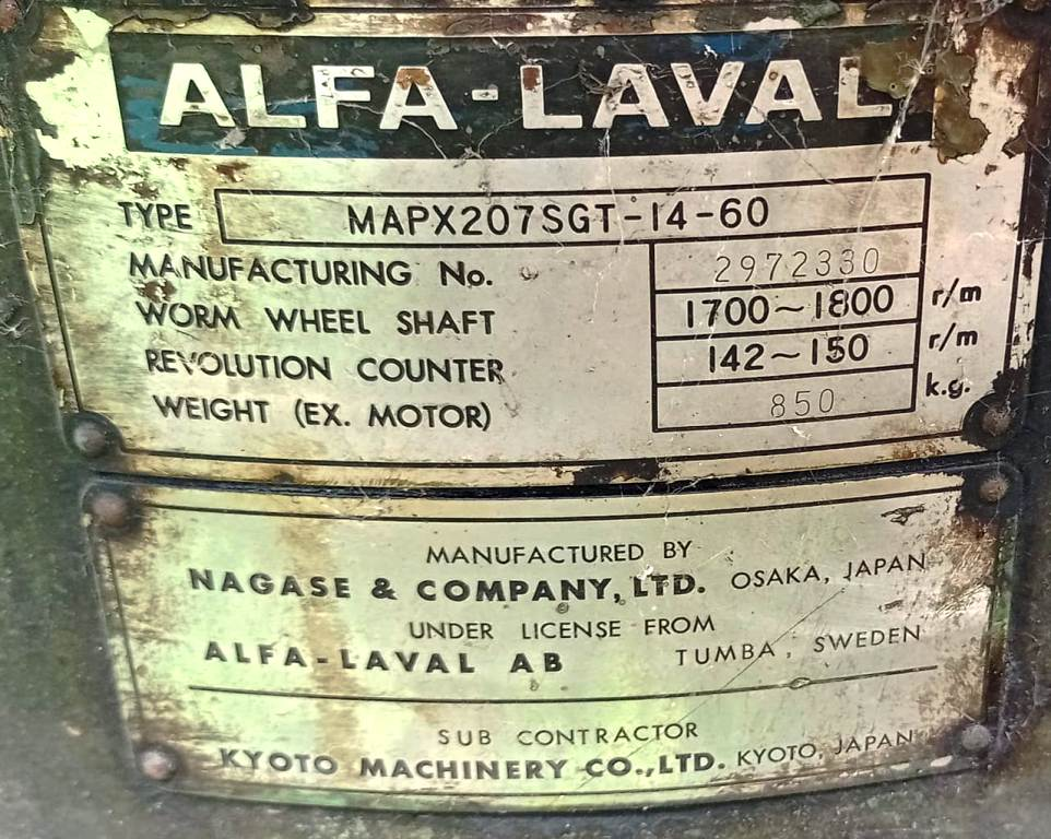 (2) Alfa-Laval MAPX 207 SGT-14-60 oil purifiers, SS bowl.
