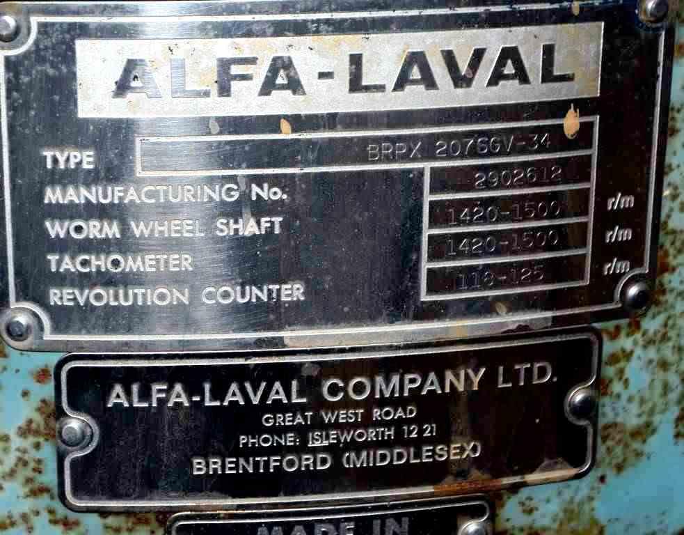 Alfa-Laval BRPX 207 SGV-34 clarifier, 316SS.