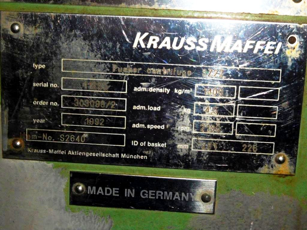 Krauss-Maffei SZ 22 2-stage pusher centrifuge, 316SS.