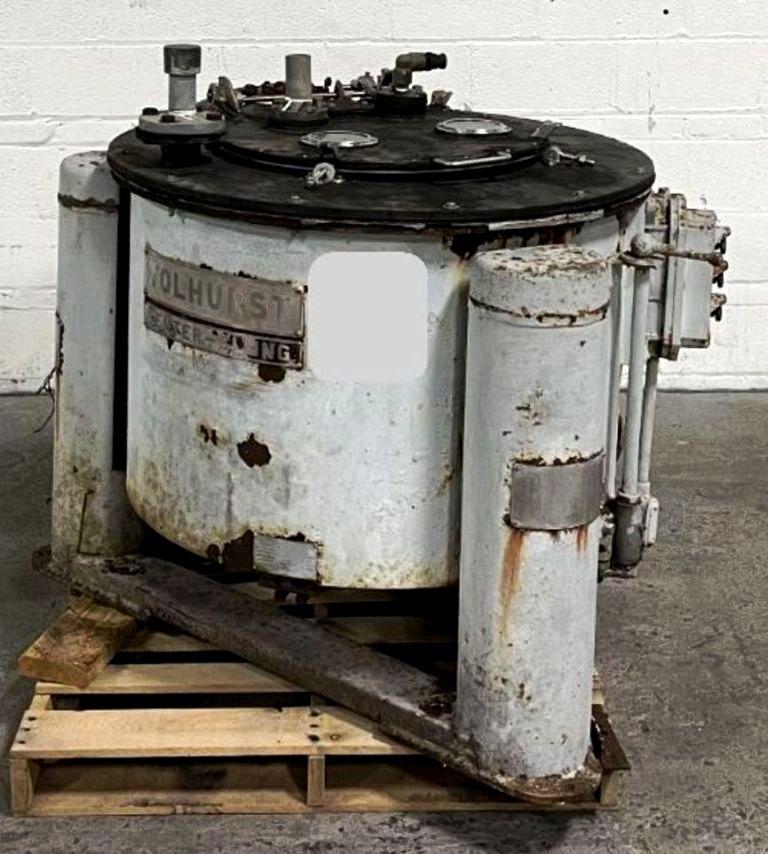 Tolhurst 30 x 20 perforate basket centrifuge, rubber-lined.