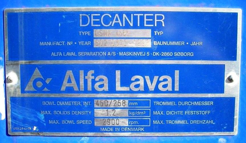 Alfa-Laval DSNX 4565 decanter centrifuge, 316SS.