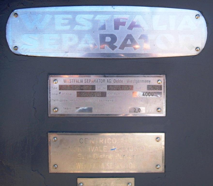 Westfalia CA 365-010 sanitary decanter centrifuge, 316SS.