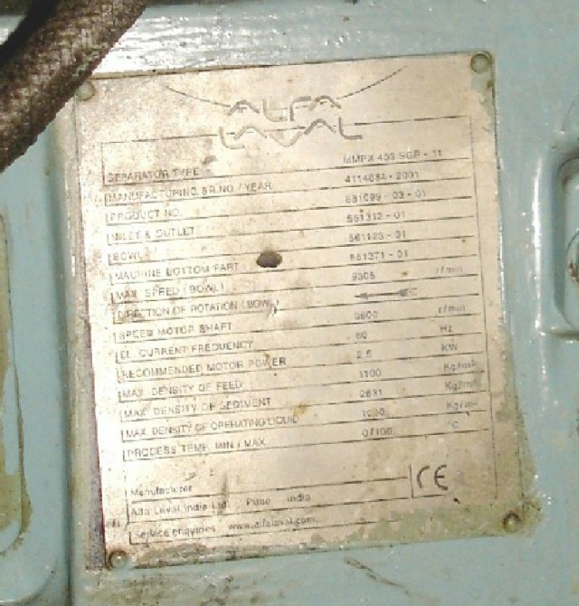 Alfa-Laval MMPX 303 SGP-11 oil purifier, 316SS.