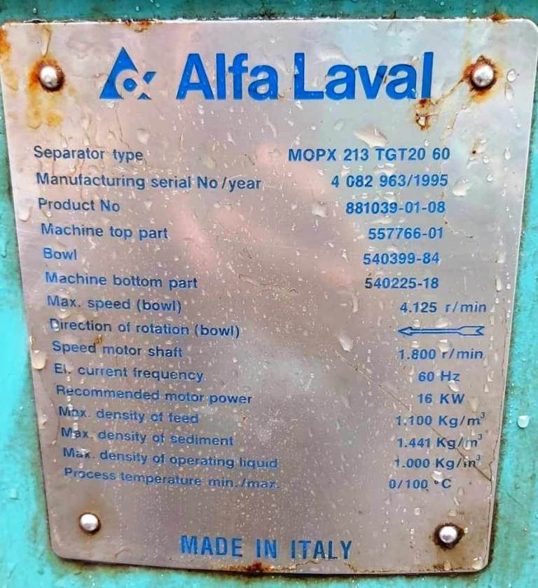(2) Alfa-Laval MOPX 213 TGT-20-60 oil purifiers, 316SS.