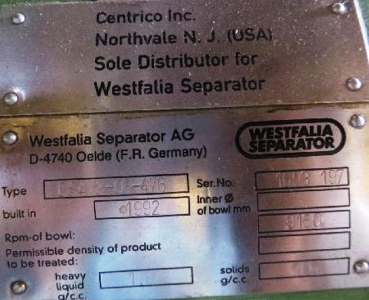 Westfalia CSA 8-06-476 biotech clarifier, 316SS.