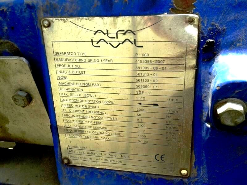 (2) Alfa-Laval P-605 SGP-11 lube oil purifiers, SS.