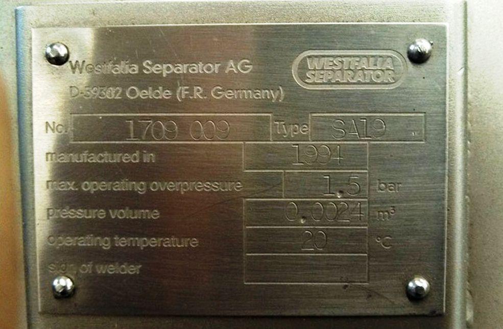 Westfalia SA 19-06-076 clarifier, 316SS.