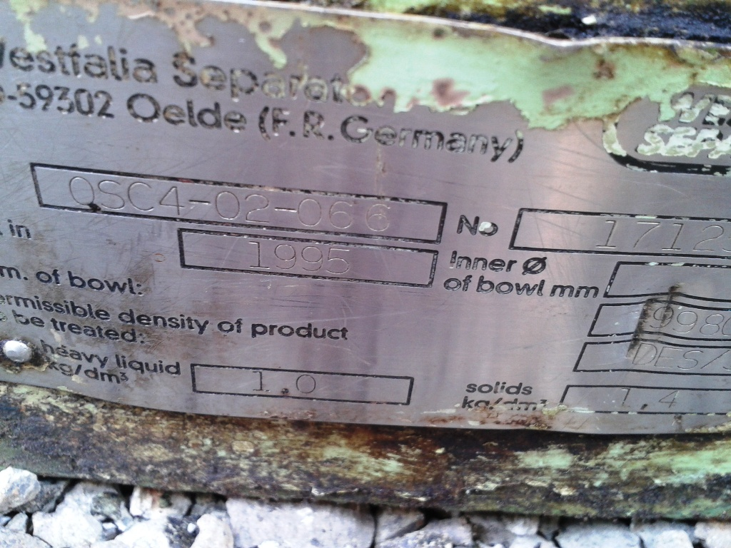 Westfalia OSC 4-02-066 fuel oil purifier, SS.