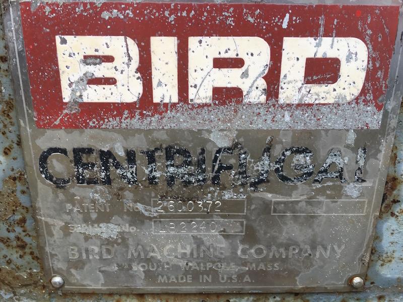 Bird 40 x 60 solid bowl decanter centrifuge, 316SS.
