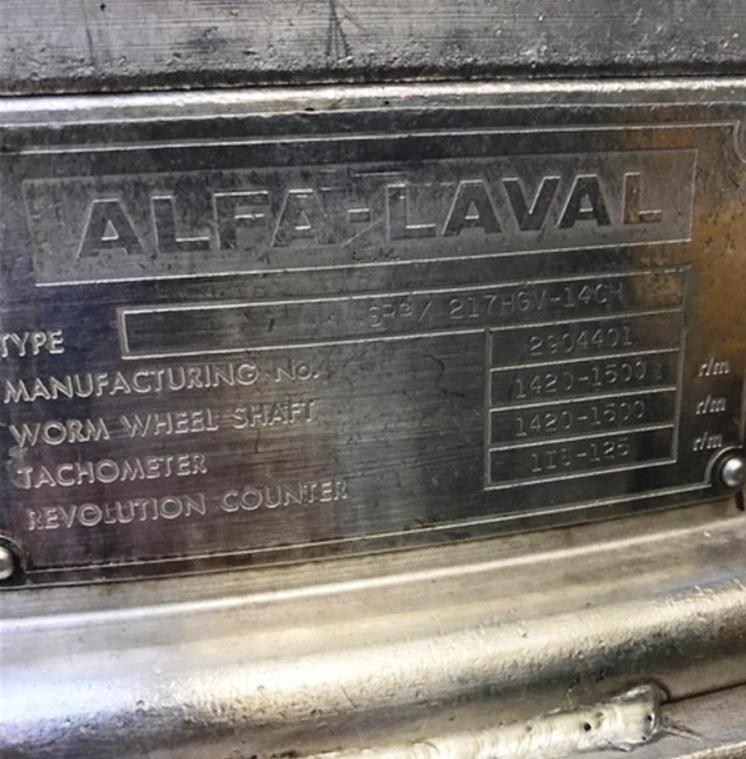 Alfa-Laval SRPX 417 HGV-14CH oil purifier, 316SS.