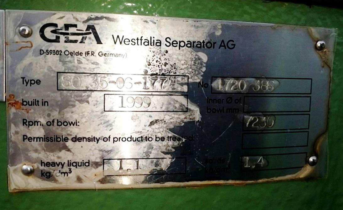 Westfalia SC 35-06-177 Hydrostop clarifier skid, 316SS.