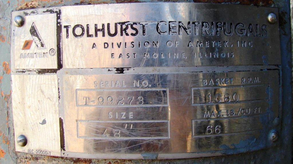 Tolhurst 48 x 30 solid bowl basket centrifuge, 316SS.