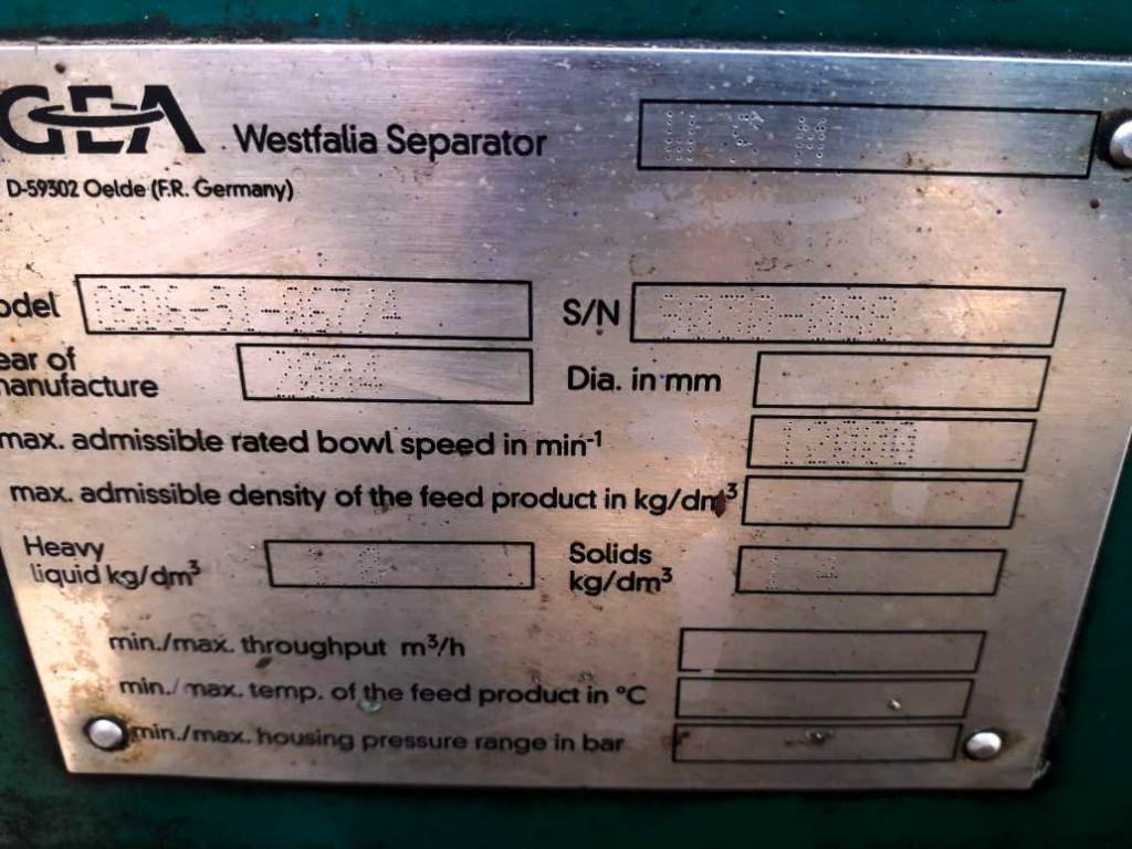 Westfalia OSD 6-91-067/4 fuel oil purifier, SS.