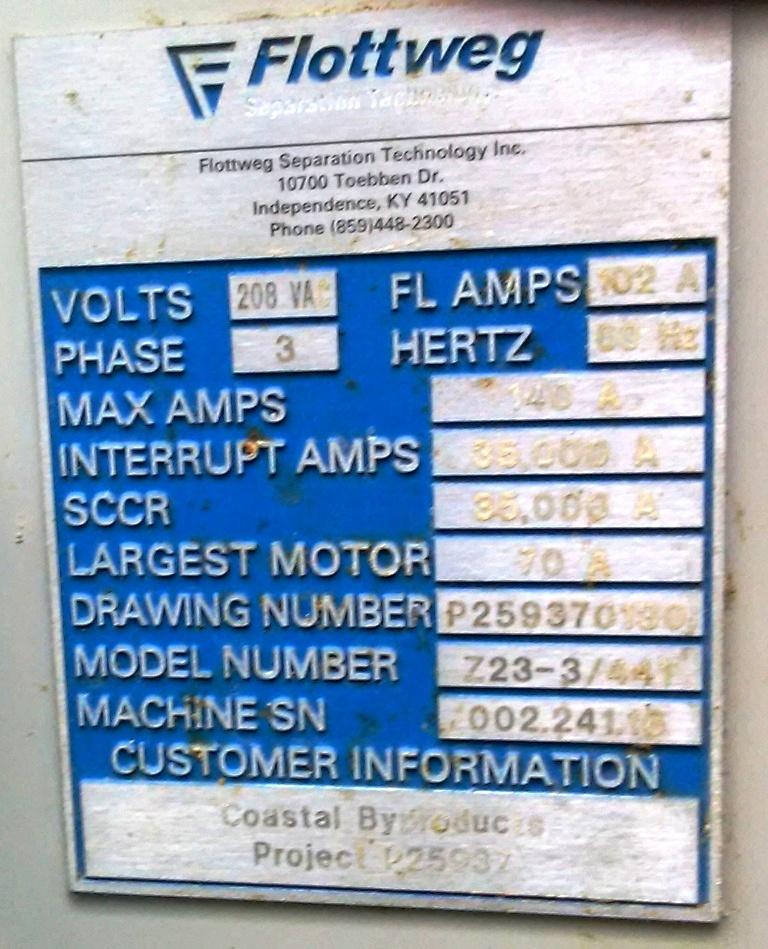 Flottweg Z23-3/441 tricanter centrifuge, 316SS.