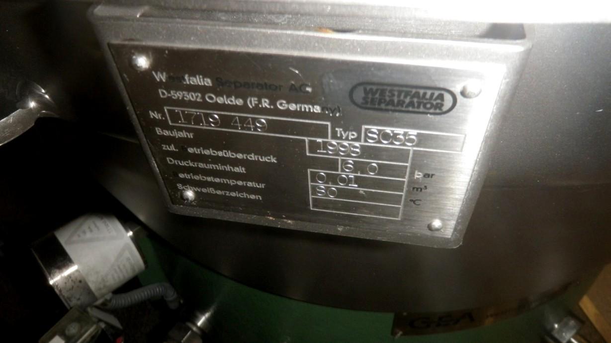 Westfalia SC 35-06-177 Hydrostop clarifier, 316SS.