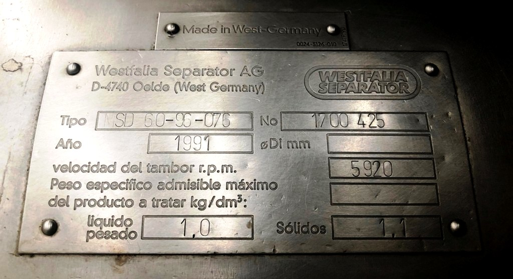 Westfalia MSD 60-96-076 whey clarifier, 316SS.