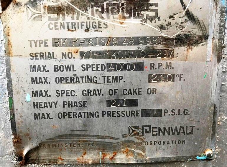 Sharples P3000 decanter centrifuge, 316SS.