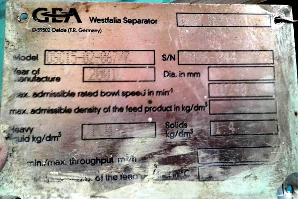 Westfalia OSC 15-02-067/7 lube oil purifier, SS.