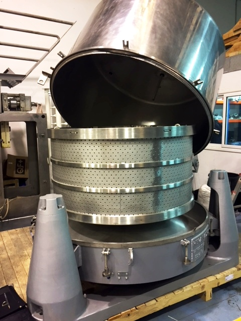 RINA 200F 1250 x 625mm perforate basket centrifuge, 316L SS.