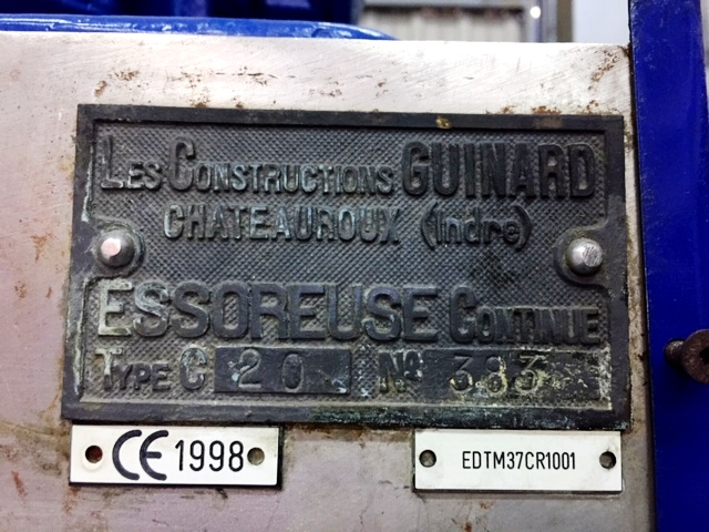 Guinard C-20 continuous screening centrifuge, 316SS.