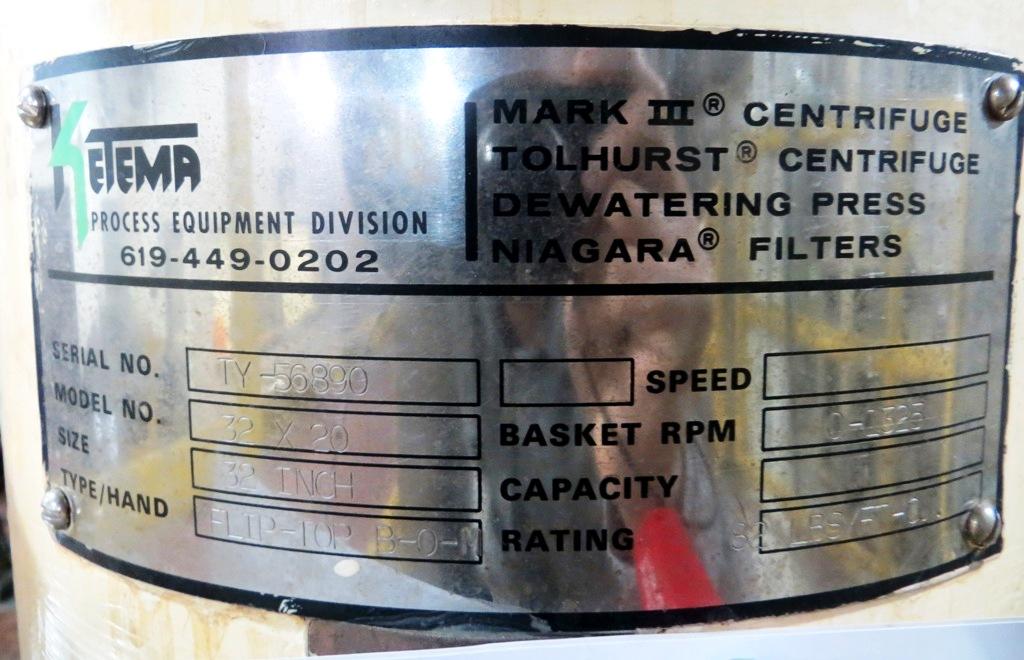 Ketema 32 x 20 perforated basket centrifuge, Hastelloy.