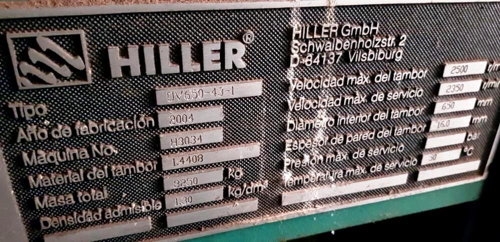 Hiller OV 650-43-1 tricanter centrifuge, 316SS.