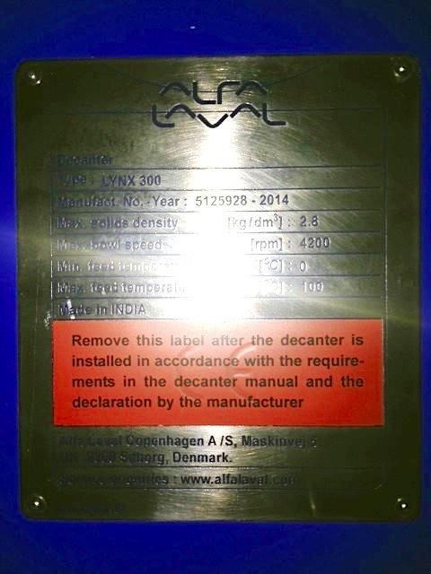 UNUSED: Alfa-Laval LYNX 300 Drilling Mud decanter, 316SS.