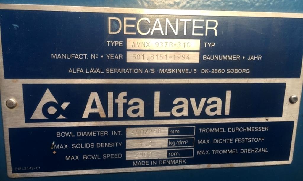 Alfa-Laval AVNX 937B-31G decanter centrifuge, 316SS.
