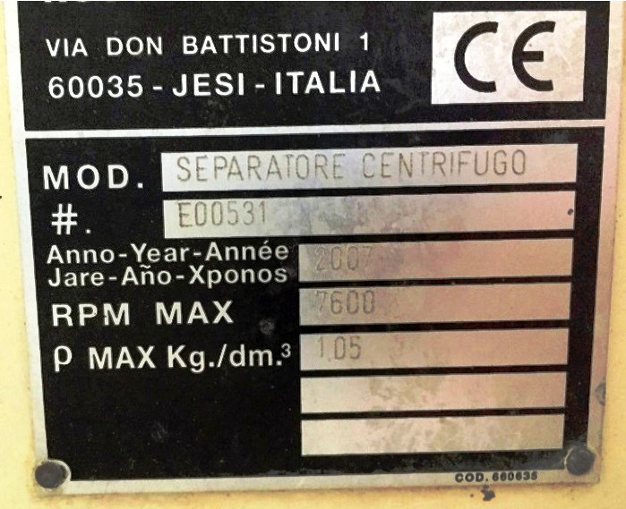 Pieralisi SV 5 self-cleaning cream separator, 316SS.