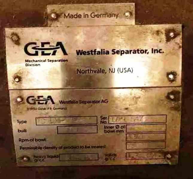 UNUSED: Westfalia TC 100-01-006 separator, 316SS.