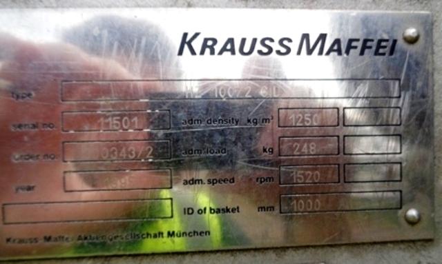 Krauss-Maffei HZ 100/2.0 Si peeler centrifuge, 316SS.