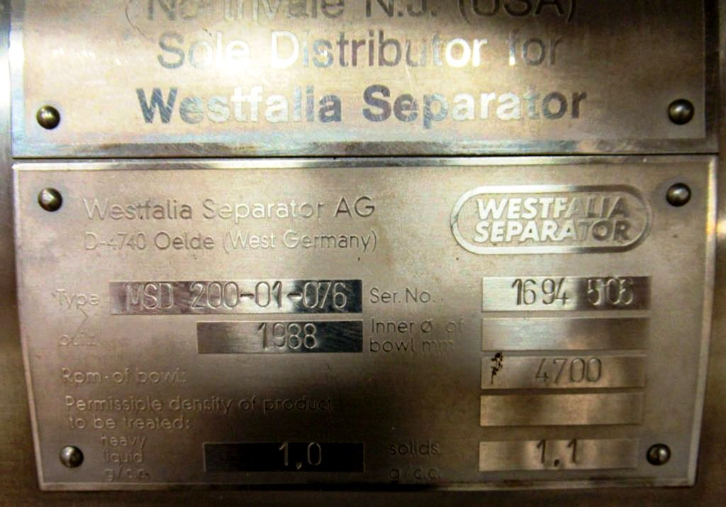 Westfalia MSD 200-01-076 milk separator, 316SS.