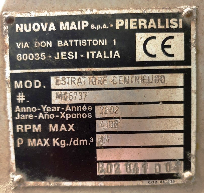 Pieralisi FP 600 decanter centrifuge, 316SS.
