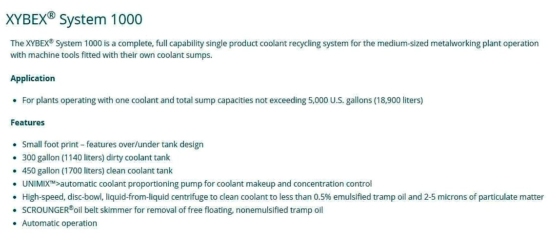 Master Chemical Xybex 1000 coolant recycling system.