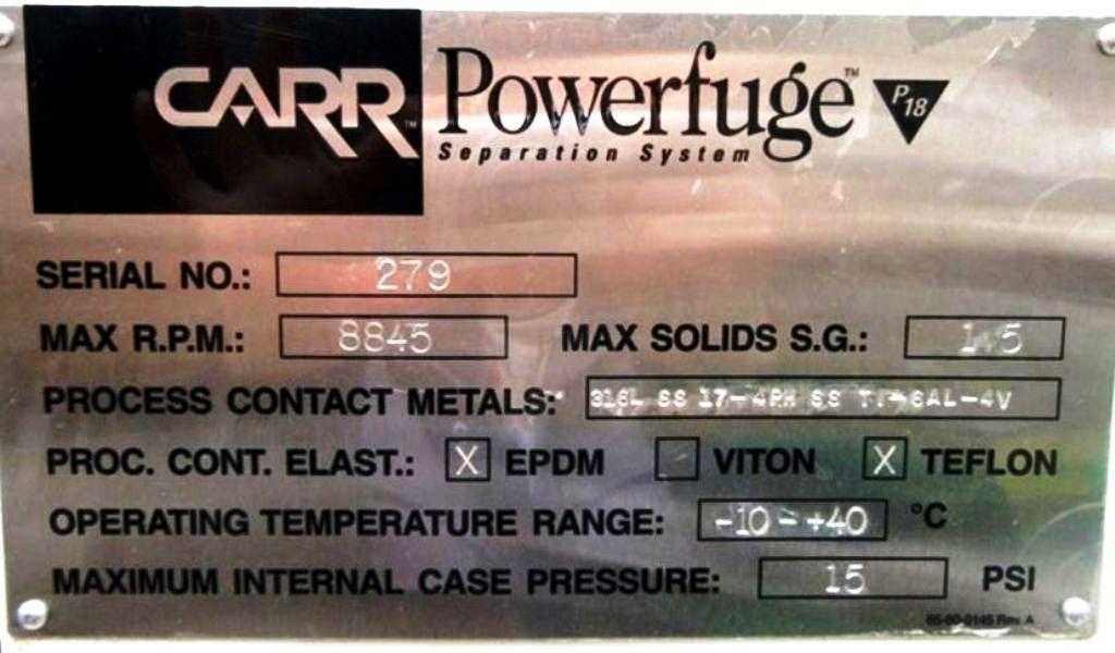 Carr P-18 Powerfuge Separation System, Titanium.